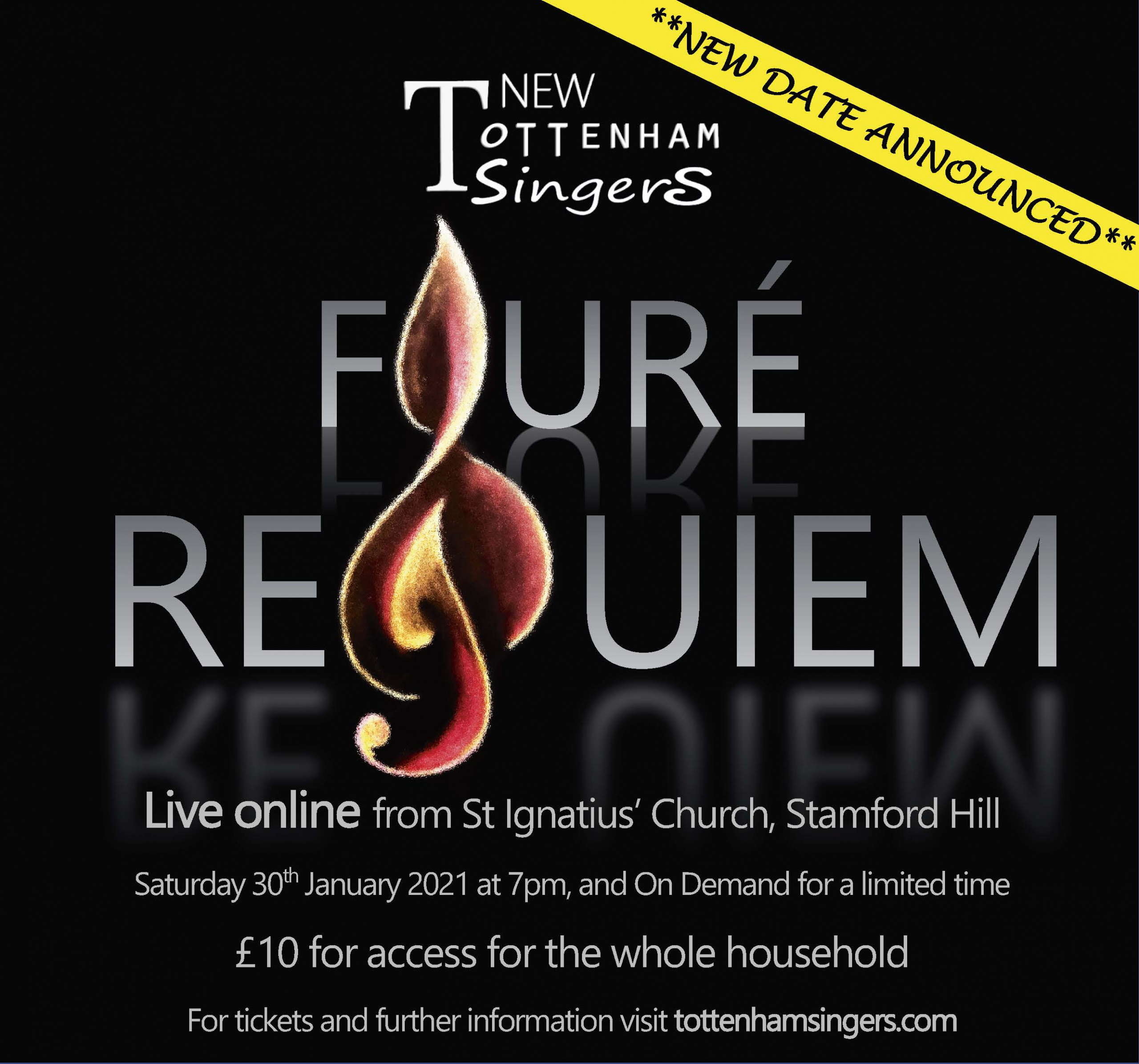 NTS presents the Faure Requiem live in concert. Live online from St Ignatius' Church, Stamford Hill Saturday 30th January 2021 at 7pm, and On Demand for a limited time £10 for access for the whole household For tickets and further information visit tottenhamsingers.com